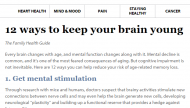 Harvard - Keep Brain Young Snapshot