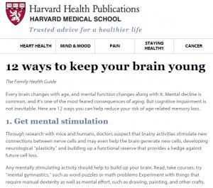 Harvard - Keep Brain Young Snapshot