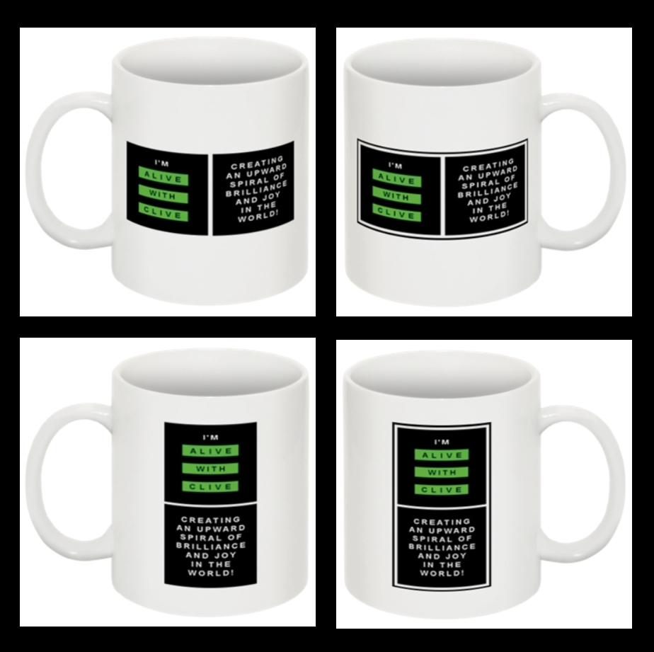 """The Set of 4 """"I'm Alive with Clive"""" Mugs"""